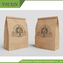 Hot sale food grade paper fast food lunch kraft oil proof paper bag with custom size
