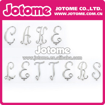 Hot Selling Various New Style Fashion Silver Clear Crystal Rhinestone 50mm Letter Cake Topper for Wedding and Party Decoration