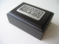 Genuine Pewter & Wood Jewellery Box Name Card Holder