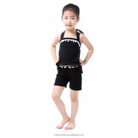 New design kids apparel elegant black halter set party wear summer children clothing 2016 for girl