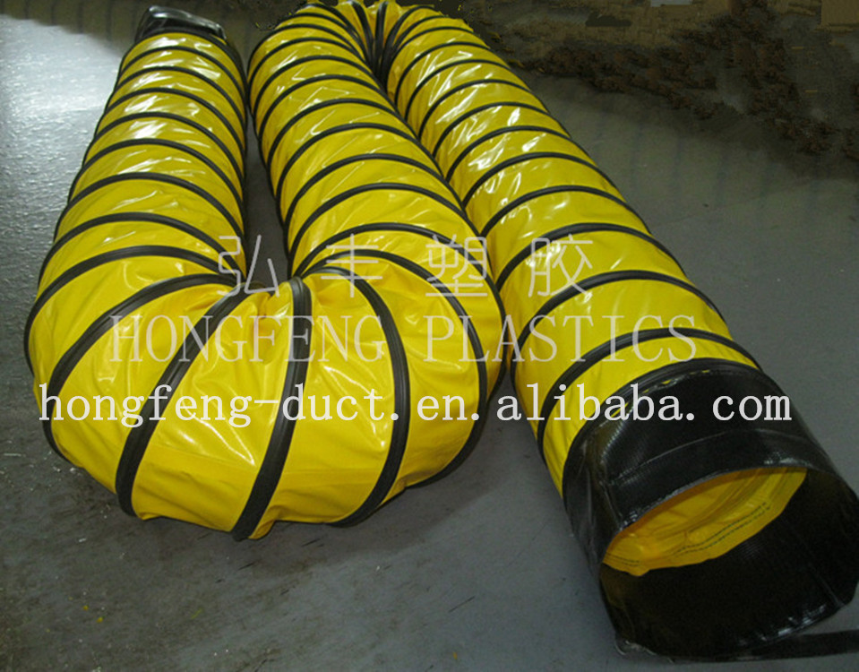 tunnel building with PVC air hose flexible plastic duct
