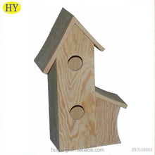 Double Hole Unfinished Wooden Bird House