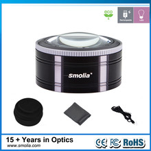 Smolia-RC Rechargeable metal paper weight lamp a magnifier for wholesale as gift