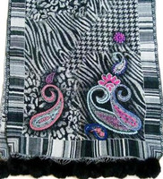 Zebra Look Boiled Wool Weave and Paisley Embroidery Shawls with Faux Pompom