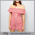New Fashion Custom Fold Over Design Red Gingham Bardot Neckline Button Front Ladies Playsuit Romper