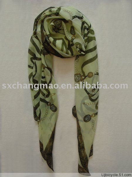 printed chiffon polyester scarf for promotional