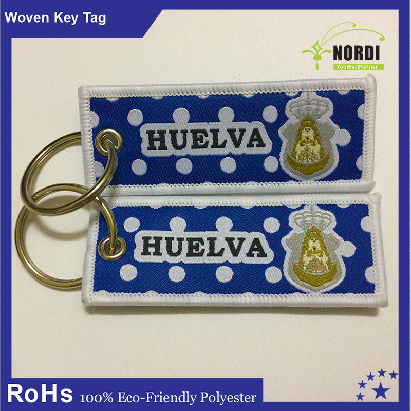 2016 Disposable custom woven twill fabric key chain /key fob /key tag