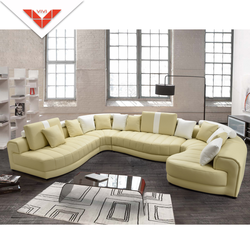 Round shape R121 modern big sectional leather sofa