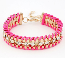 Fashion Retro Vintage Lady Alloy Metal Jewelry Braided Rope Diamond Crystal Bracelets & Bangles Summer Style Jewelry