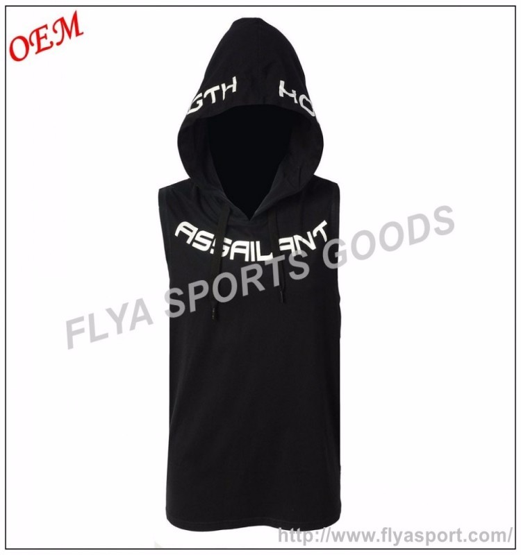 cheap slim fit stringer vest sleeveless hoodie gym wholesale