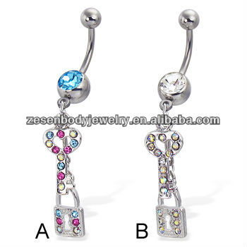 Belly button ring with jeweled key and lock in stainless steel with crystal body piercing jewelry rings