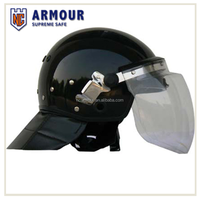 Anti Riot Black and Neck Protector Police Helmet With Face Shield