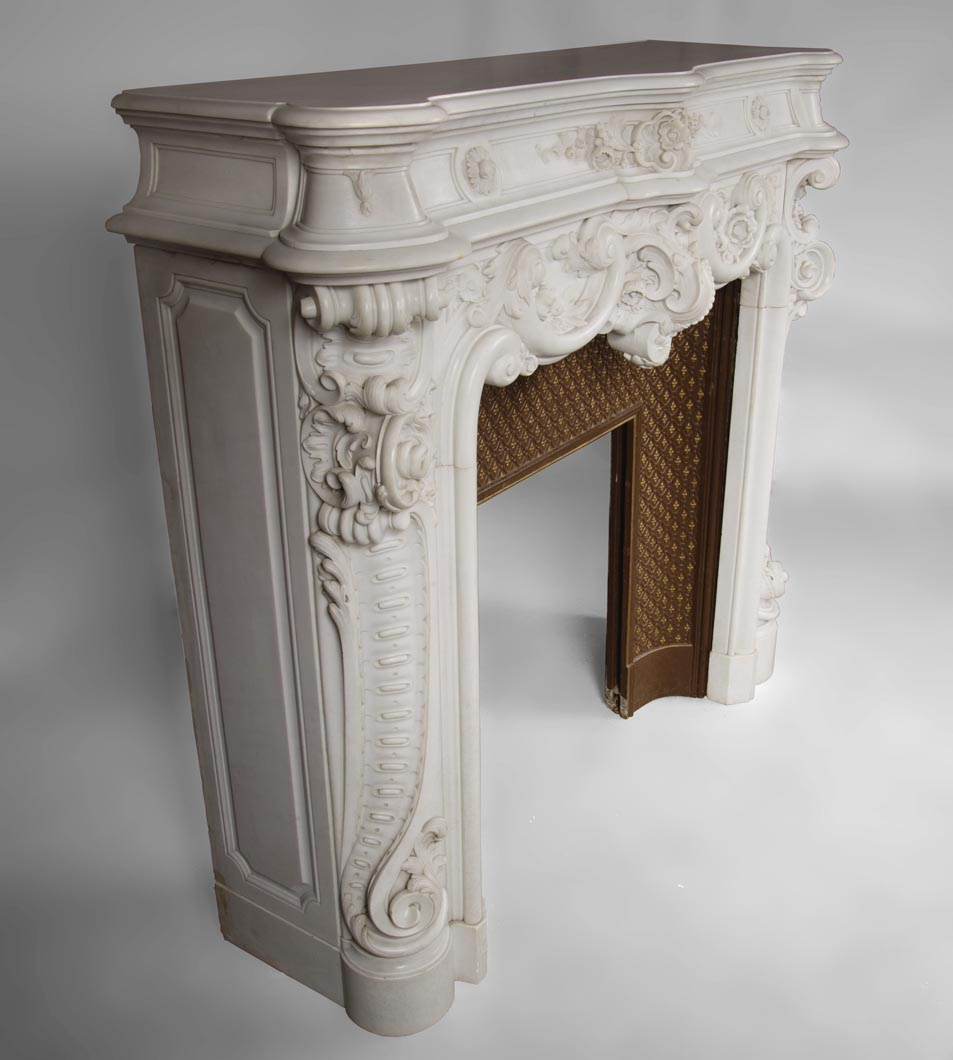 Handmade Pillar Carved Fireplace Arch Natural Marble Carrara White Marble Fireplace Mantel