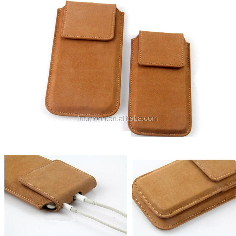 universal genuine leather phone pouch case cover for apple iPhone 4 5 6 S C se plus for huawei y6 p8 lite