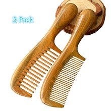 2-Pack Anti-static Hand Crafted Massage Comb In Natural Green Sandal Wood