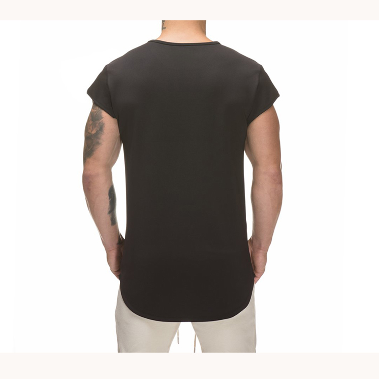 Many year history t-shirt manufacturers in China offer cool combed cotton t shirt longline curved hem t shirts
