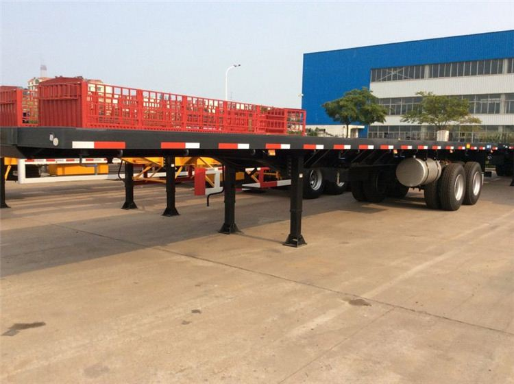 2017 hot sale tri axle low flatbed lowboy 30 ton truck trailer & Low bed Semi trailer, trailer dimensions and truck prices