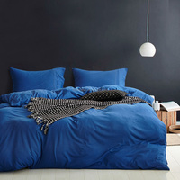 twin size comfortable 100% cotton solid color blue knitted jersey bedding sets