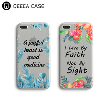 For iPhone Case Bible Verse, Clear Transparent Bible Scripture Flower Art Phone Case