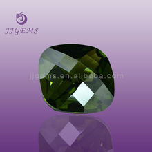 synthetic cushion emerald cz checkerboard cut gemstone