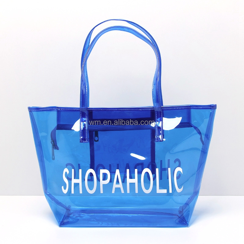 Wholesale cheap price clear pvc zip tote beach bag