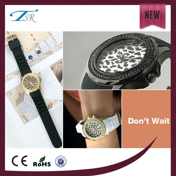 Gold case shinning dial custom leopard watch for women