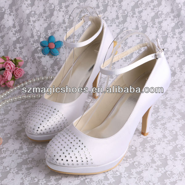 (12 Colors) White Satin Evening Shoes with Stones 10CM