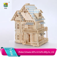 Towins 3d diy puzzle education toy wood model child toys timber frame house
