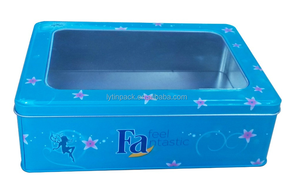 big size rectangular tin box with window