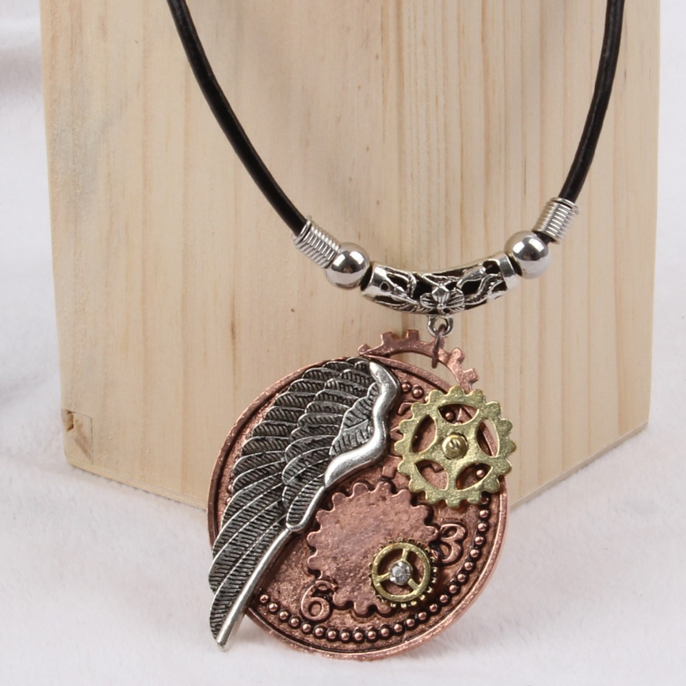 2015 yiwu fashion imitation jewelry hot sale steampunk gear wings pendant with imitation crystal cameobig statement necklace