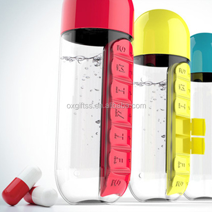 OXGIFT PC plastic for seven days capsule pill Pot <strong>Sports</strong> travel Water bottle