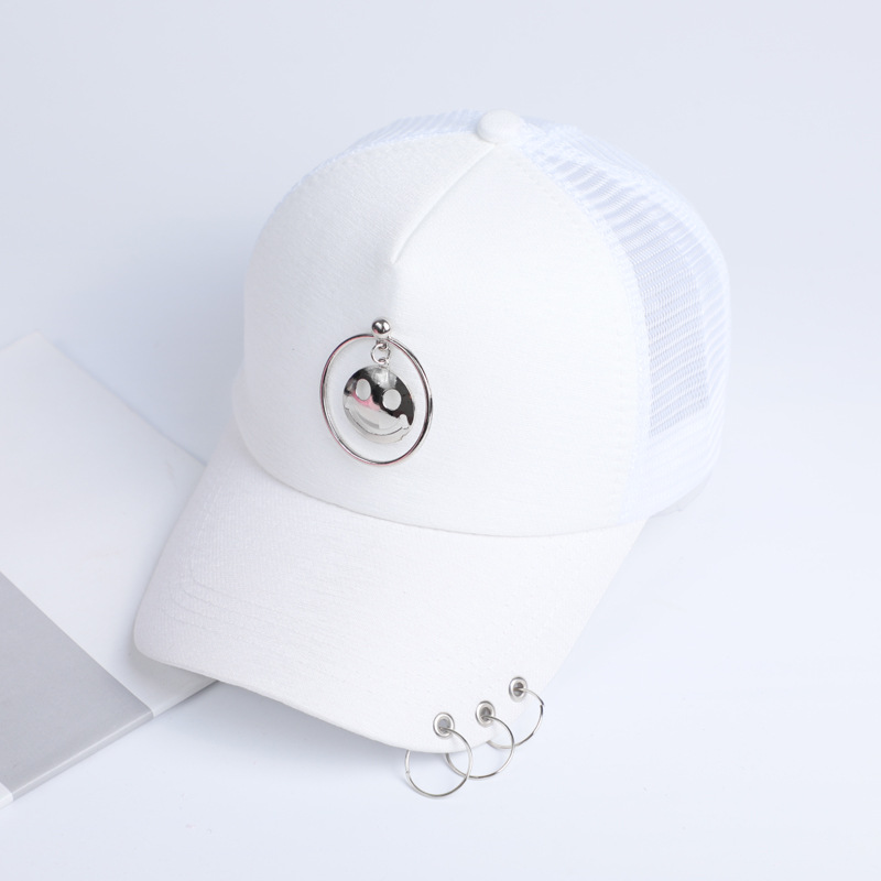 Wholesale fashionable personality iron hoop net visor hat curved breathable hip hop <strong>cap</strong> smiling face summer baseball <strong>cap</strong>