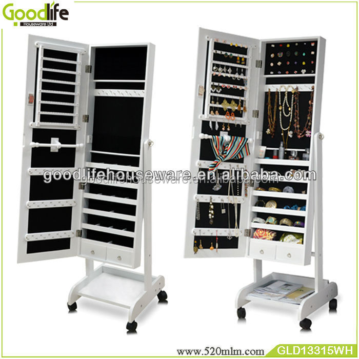 Fashion wooden jewelry cabinet mirror with free wheels