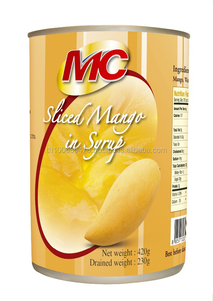 Canned Mango Slices In Syrup, canned fruit