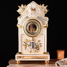 Luxury Top Quality Porcelain Clock Ornament Clock Golden Table Clock