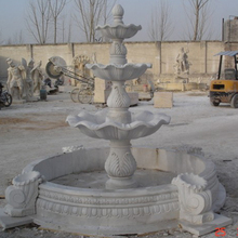 Outdoor 3 Tier White Marble Garden Water Fountain