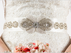 100% handmade shining rhinestone sash for bridal wedding dress