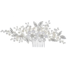 Wholesale Silver Leaf Flower Bridal <strong>Accessories</strong> Tiara Side Comb Handmade Wedding Pearl Women <strong>Hair</strong> <strong>Accessories</strong>