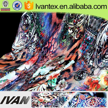 High Quality Custom Design Vortex Knitted Rayon Fabric Digital Print