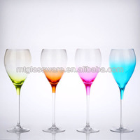 Novelty painted light 4 colored decorative white wine glass
