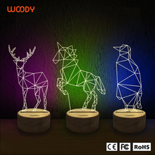 Woody customized any shape color changing usb LED 3D night light for kids