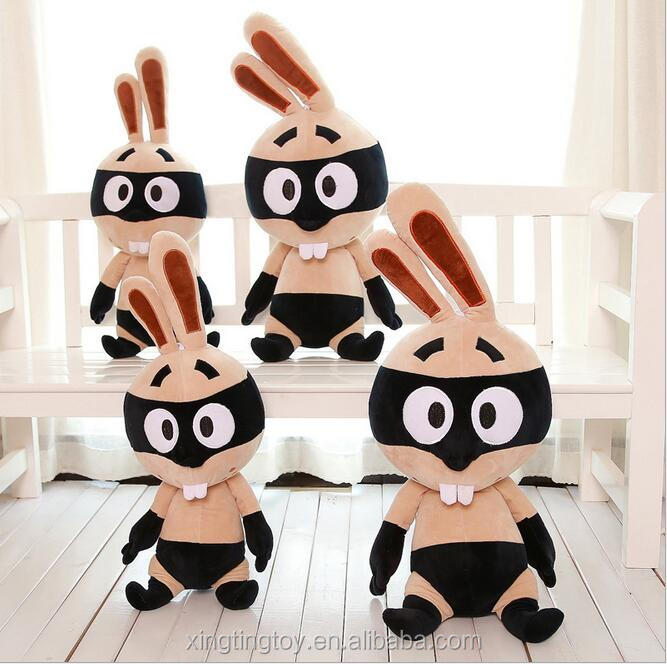 funny design custom stuffed plush and stuffed toy lovely black rabbit