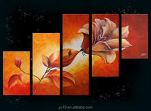 5pcs panel 100% Handmade Flower Group Oil Painting PL-469