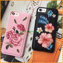 Fashion Embroidery Flowers Handmade Plastic leather Candy Color Phone cover case for iphone 7 plus