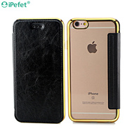 Factory Sale electroplating flip leather case with transparent back For iPhone 6 Plus