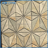 Diamond and triangle type nature stone gold mosaic tile