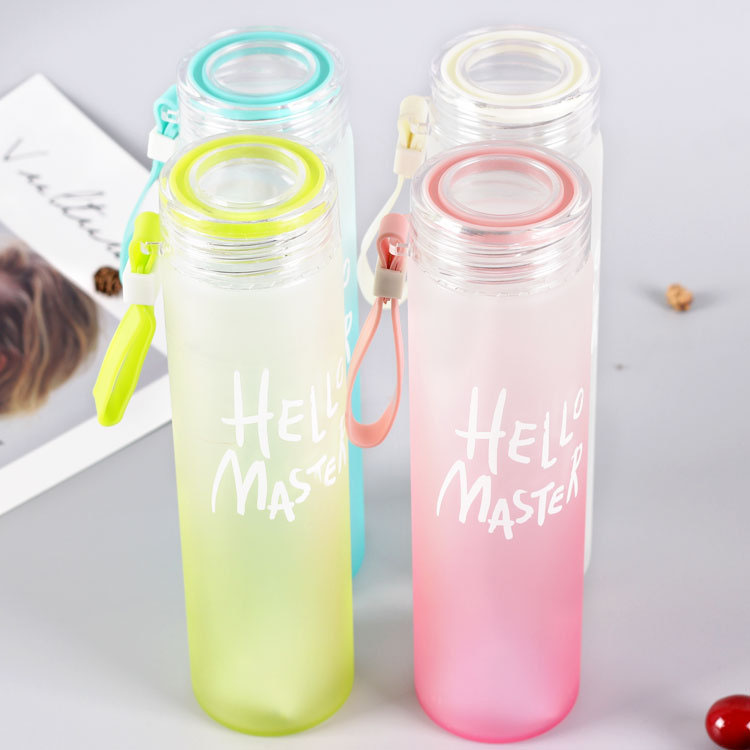 Custom Logo Glass Drinking Bottle New Design Borosilated Frosted Glass Drinking water Bottle