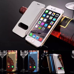 Free Slide open window clear mirror leather case cover for iphone 6/6plus