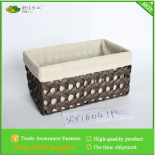 paper rope woven garland storage basket with linen lining without handles