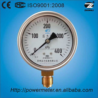 "(Y-100) 4"" bottom connection stainless steel case brass movement pressure gauge manometer 400KPa"